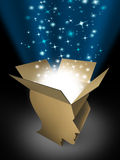 Power Of The Mind. And powerful intelligence with an open box in the shape of a human head illuminated with a glowing beaming light bursting with sparkles as a stock illustration
