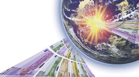 The power of money. This image shows a list of bank notes, falling to earth with a bang Royalty Free Stock Photo