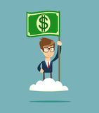 Power of money. Proud man raising a dollar flag on the cloud. Stock Photography