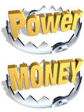 Power Money Trap. Gold word Power and Money in center of shiny steel traps with sharp teeth. Symbol of financial and life balance and risk. Isolated 3D Royalty Free Stock Images