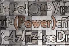 Power with movable type printing Royalty Free Stock Photo