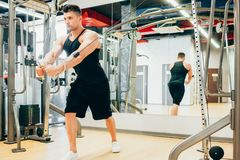 Power muscular serious man gym sport concept. Lifestyle of athlete. Strength of will Royalty Free Stock Photos