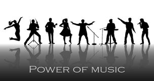 Power of music concept. Set of black silhouettes of musicians, singers and dancers Royalty Free Stock Images