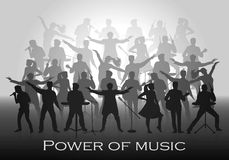 Power of music concept. Set of silhouettes of musicians, singers and dancers Royalty Free Stock Photos