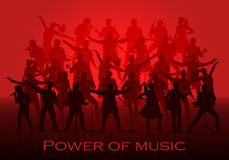Power of music concept. Set of silhouettes of musicians, singers and dancers Stock Images