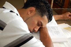 Power nap during studies Royalty Free Stock Photos