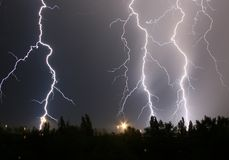 Power of nature. Powerful lightning in the night Stock Photography