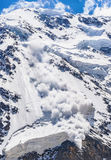 Power of nature. Avalanche in the Caucasus Stock Image
