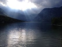 Power of nature. Come and feel the powerful nature of Slovenia - water, mountains and sky Royalty Free Stock Photography