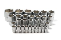 Power nut socket set arranged in a row royalty free stock photography