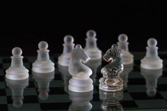 Power Of Chess - Crystal Chess On Black Background Stock Photo