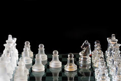 Power Of Chess - Crystal Chess On Black Background Royalty Free Stock Photography