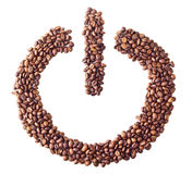 'Power on/off' symbol from coffee beans. On white isolated background Royalty Free Stock Photography