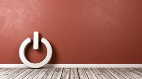 Power On-Off Symbol on Floor. White Power On-Off Symbol Shape on Wooden Floor Against Red Wall with Copyspace 3D Illustration stock illustration