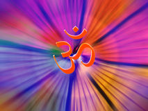 The Power of OM. A metaphorical image of the holy Hindu symbol of Aum or OM radiating energies Royalty Free Stock Images