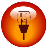 Power outlet icon or button. Plug and electrical outlet button or icon - power - vector Royalty Free Stock Photo