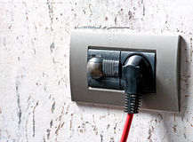 Power outlet. Modern power outlet with plug Stock Photos