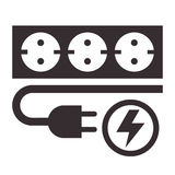 Power outlet, plug and lightning sign. On white background Stock Photos