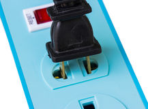 Power outlet and power plugs on white Stock Photo