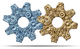 Power Partnership. And joining business forces together to form a strong merged unity of success represented by a group of gears and cogs in the shape of a Royalty Free Stock Image