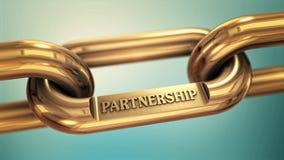 Power of partnership. Partnership, cooperation, teamwork as symbol on gold chain Stock Illustration