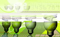 Power passing to CFL light in ray effect backgroun. Digital illustration of power passing to CFL light in ray effect background stock illustration