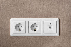 Power and phone socket Royalty Free Stock Images