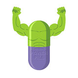 Power pills. Tablets for bodybuilding. Medication with big muscl Stock Photos