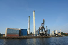 Power plant. Coal fired power plant at Elbe river, Germany royalty free stock photo