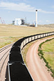 Power Plant. Rail lines leading to the Dry Fork Station coal-fired power plant under construction in Wyoming Stock Image