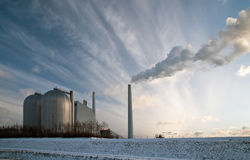 Power plant. With heavy smoke from the chimney Stock Image