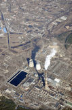 Power plant. In the morning (aerial view Stock Photos