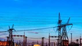 Power plant . Transformer substation . Industrial landscape. Transformer substation . Industrial landscape . Power lines royalty free stock photo
