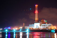 Power Plant. A power plant at night time Royalty Free Stock Images