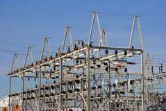 Power Plant. An industrial power plant with power cables Royalty Free Stock Photos
