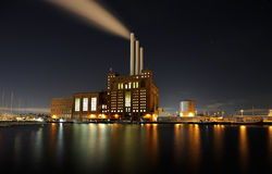 Power plant. Power station at night by a port Royalty Free Stock Photography