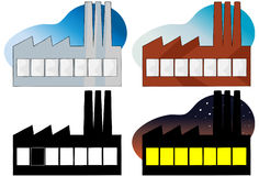 Power Plant. Four variations of a side view of a factory or power plant Royalty Free Stock Photo
