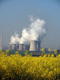 Power Plant. Power station with smoking cooling towers behind a canola field Royalty Free Stock Images
