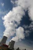 Power plant. Cooling towers and vapour stock images