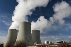 Power plant. Cooling towers exhaust vapour Royalty Free Stock Photo