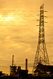 Power plant. In sunset background Royalty Free Stock Photos