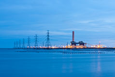 Power plant. In sea night time Stock Photo