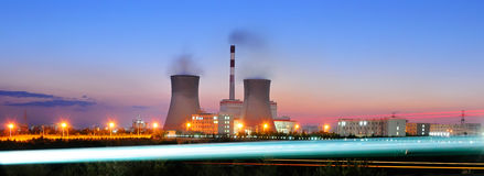 Power plant. A power plant of a night scene Royalty Free Stock Photo