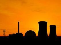 Power plant. Nuclear power plant over sunset Royalty Free Stock Photography