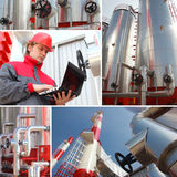 Power Plant. Man working in Power Plant, building exterior, split screen Stock Photos