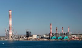Power Plant. On the coast Royalty Free Stock Photo