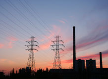 Power plant. Heat and Power plant silhouette at dusk Stock Image
