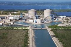 Power plant. Aerial view of nuclear power plant on Hutchinson Island, Flordia stock images