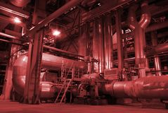 Power plant. Different Types Of Pipes Inside Energy Plant Stock Image