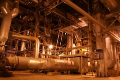 Power plant. Different Types Of Pipes Inside Energy Plant Royalty Free Stock Photos